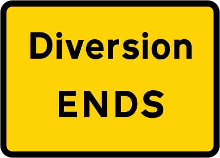 direction-and-tourist-signs - diversion ends