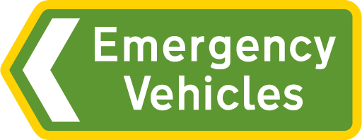direction-and-tourist-signs - emergency vehicles green