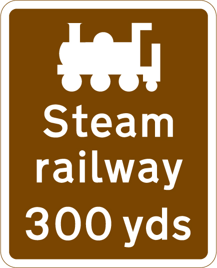 direction-and-tourist-signs - steam railway 300 yards