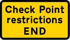 information-signs - check point restrictions end