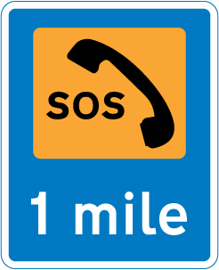 information-signs - emergency telephone 1 mile