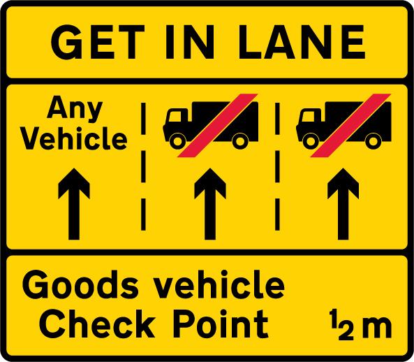 information-signs - get in lane 3 lanes