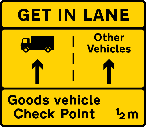 information-signs - get in lane