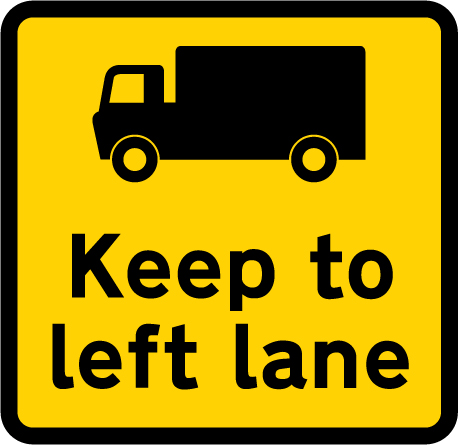 information-signs - keep to left lane in roadworks