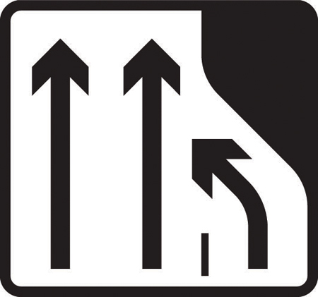 information-signs - lane 3 ends