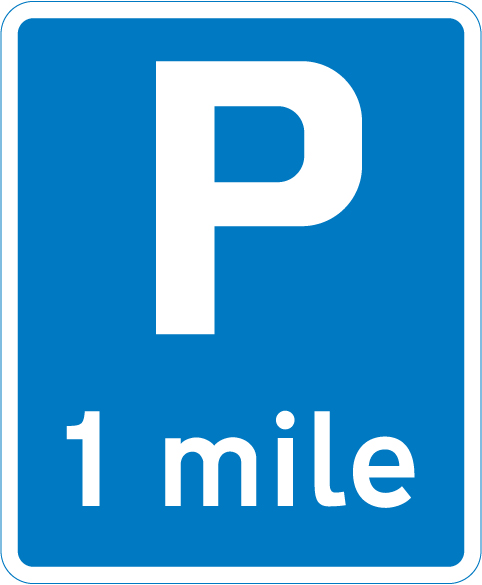 information-signs - parking 1 mile ahead