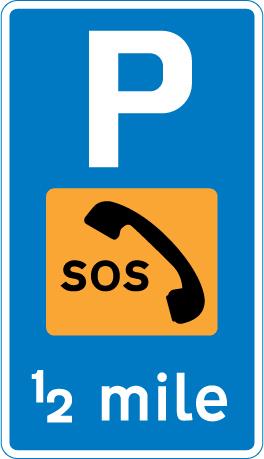 information-signs - parking phone half mile