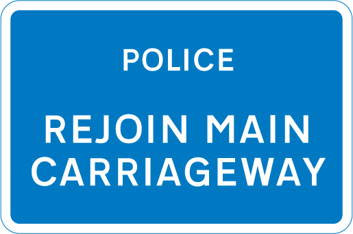 information-signs - police rejoin main carriageway