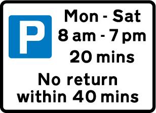 on-street-parking - parking restriction 20 mins