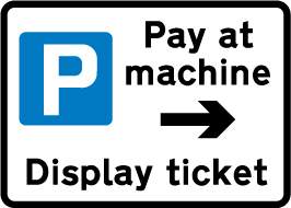 Pay at machine sign