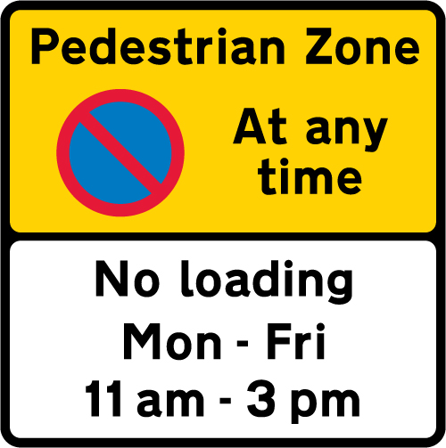 pedestrian-zone-signs - pedestrian zone loading restriction