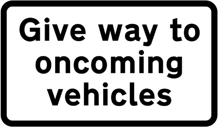 regulatory-signs - give way to oncoming vehicles plate