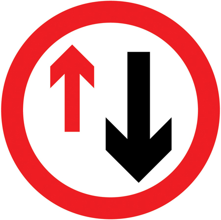 regulatory-signs - no priority over oncoming vehicles