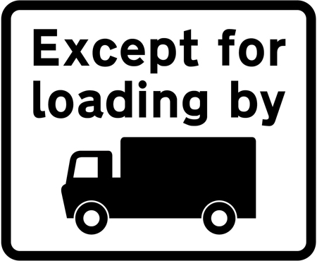 regulatory-signs - no trucks except for loading plate