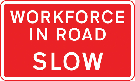 road-works-and-temporary - workforce in road slow