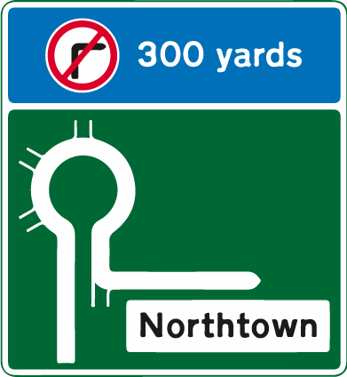 roundabouts - green no right turn roundabout