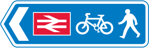 signs-for-cyclists-and-pedestrians - cycle route to rail