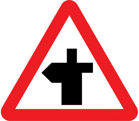 warning-signs - crossroad left bend