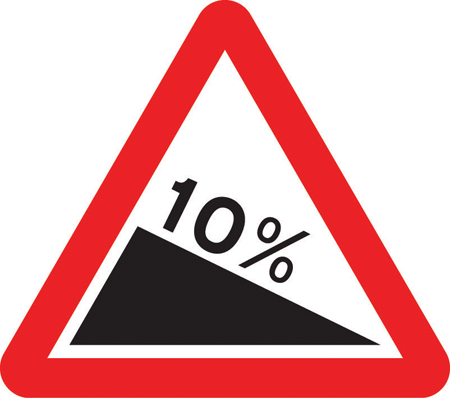 warning-signs - downhill gradient