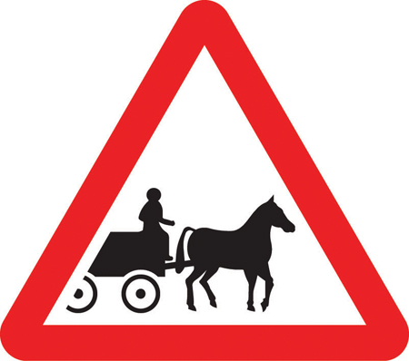 warning-signs - horse drawn carriages