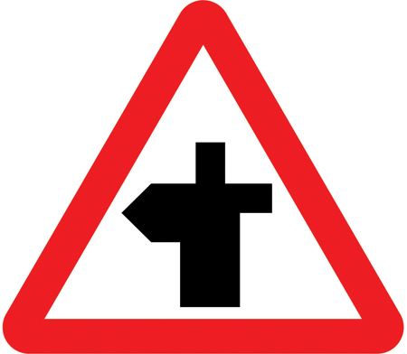 warning-signs - left bend crossroad