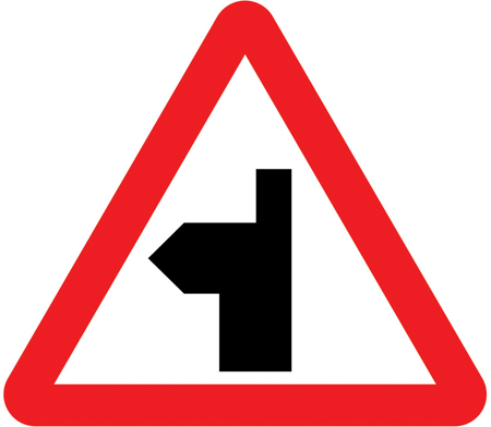 warning-signs - left bend junction ahead