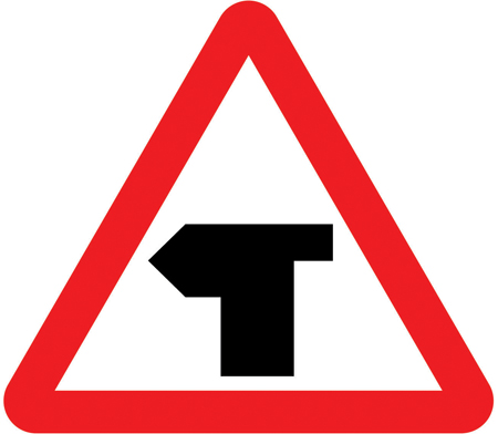 warning-signs - left bend t junction