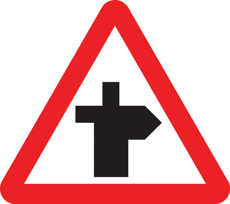 warning-signs - right bend crossroad