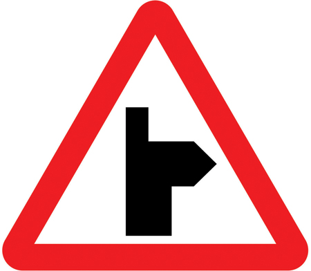 warning-signs - right bend junction ahead