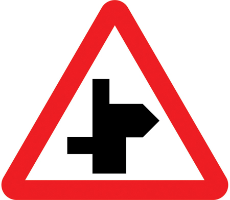 warning-signs - right bend staggered crossroad