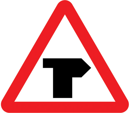 warning-signs - right bend t junction