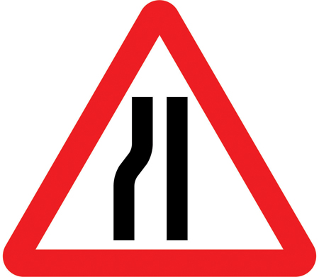 road narrows left