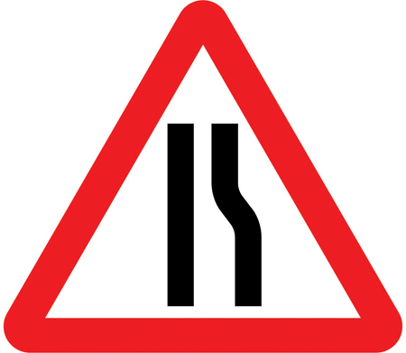 warning-signs - road narrows right